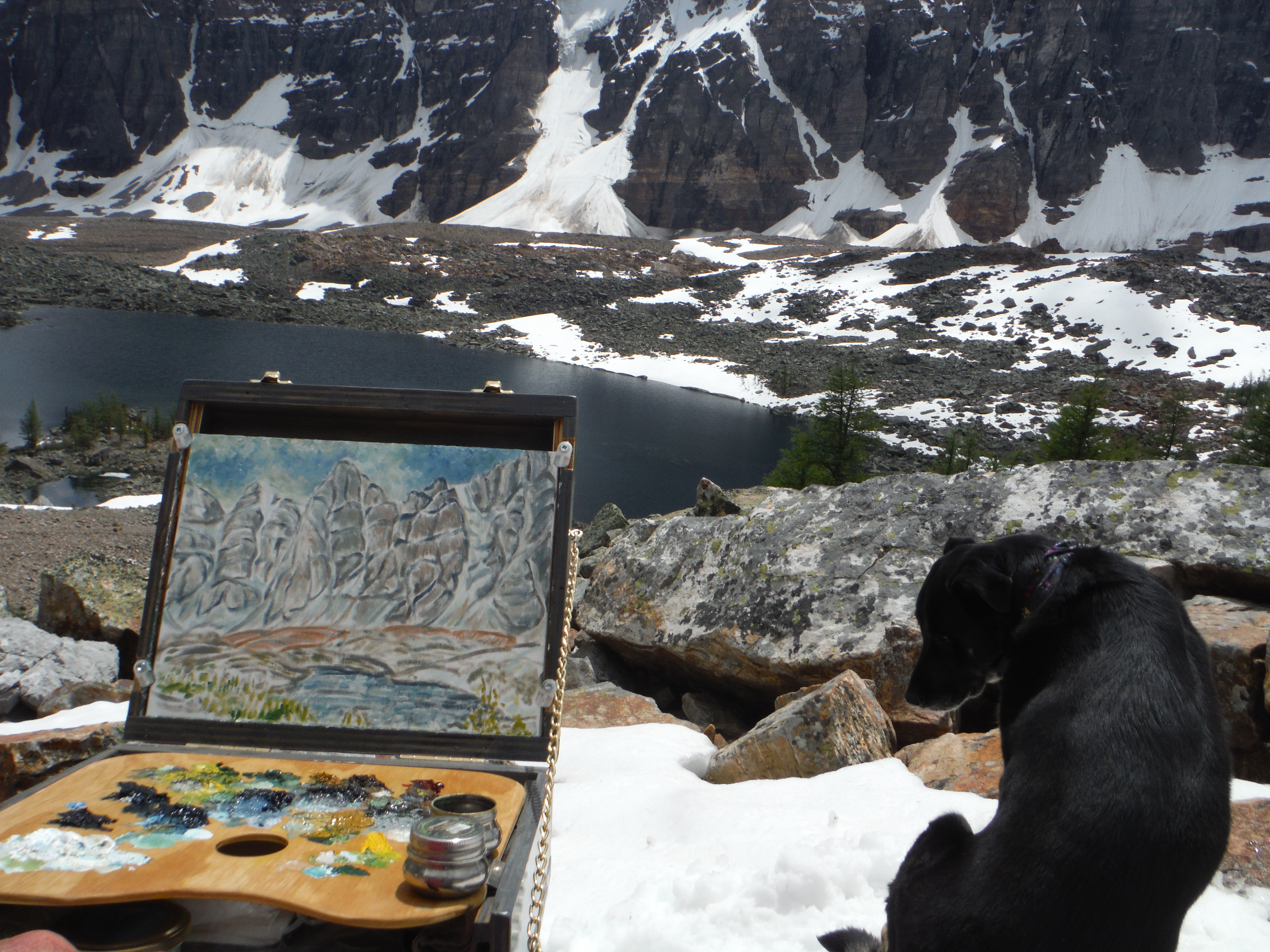 plein air painting Eiffel Lake Moraine Lake Valley of the Ten Peaks