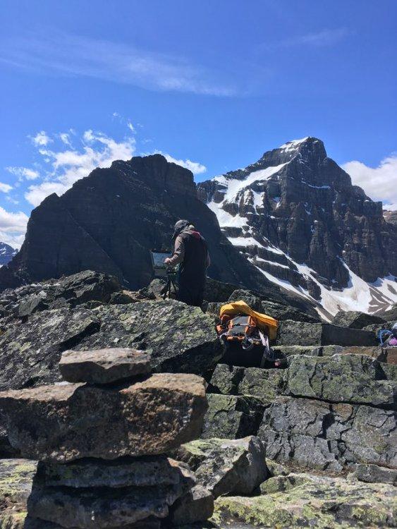 plein air painting Saddle Mtn. Sheol Mtn. Haddow Peak Lake Louise