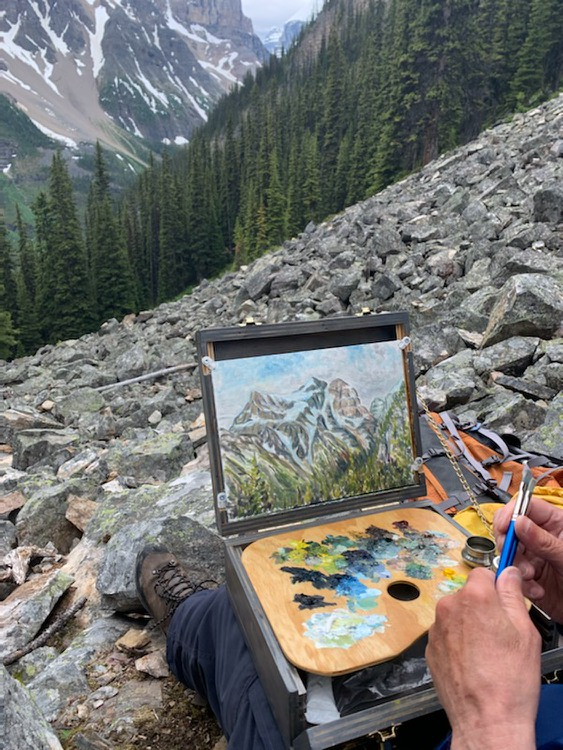 plein air painting Lake Agnes Mt. Aberdeen
