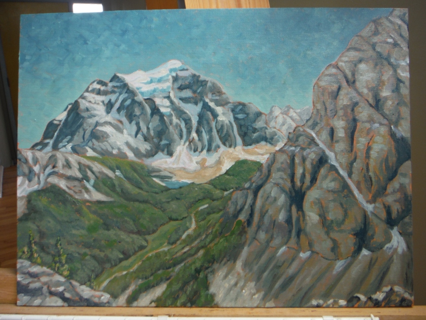 Mount Temple and Lake Annette from Saddle Peak oil painting